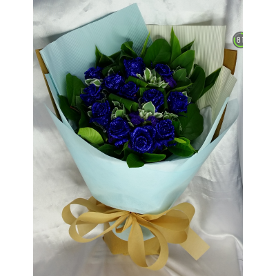Crystal Blue Roses Bouquet