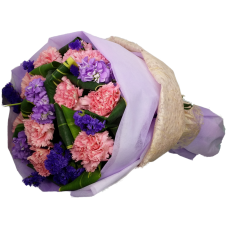 One Dozen Pink Color Carnations Bouquet in Round Shape