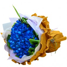 Romantic Forever  99 Blue Color of Roses Bouquet